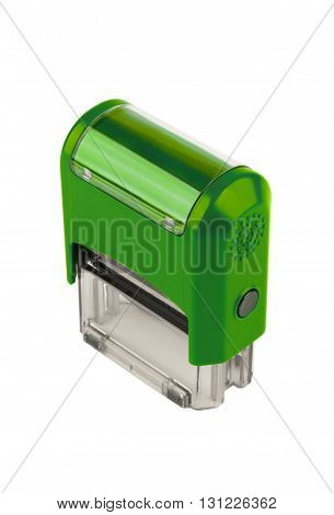 Hand rectangular automatic stamp, a brilliant green color. Isolated on white background.