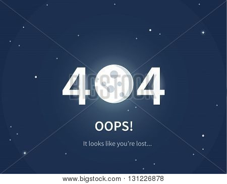 Design 404 error page. Vector concept illustration for page 404. Page is lost and not found message. Template for web page with 404 error.