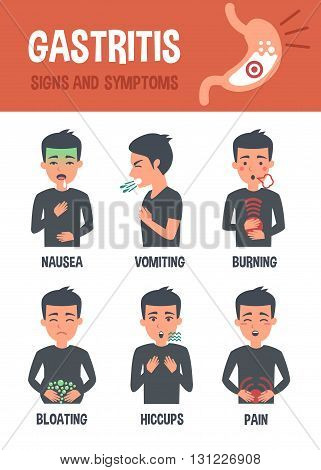 Gastritis vector infographic. Gastritis symptoms. Infographic elements.