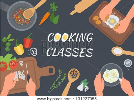 Cooking Classes concept illustration. Cooking vector banner. Top view table with chefs hands.