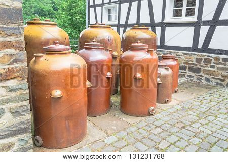 Earthenware jars jugs clay pottery for storing oil vinegar sauerkraut wine etc.