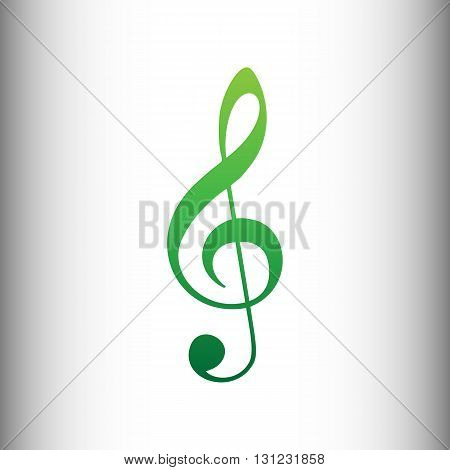 Music violin clef sign. G-clef. Treble clef. Green gradient icon on gray gradient backround.