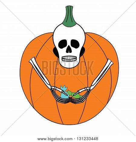 A skeleton in a pumpkin costume for Halloween. Sad skeleton with a small amount of candy in his hands. Funny cartoon skeleton.