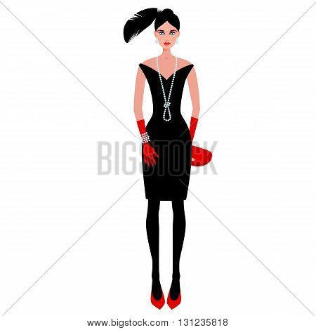 Сute fashionable girl on the evening of luxury glamor clothes. The stylish little black dress, hat, feather, clutch bag, pearls. Vector illustration of people isolated on white background.