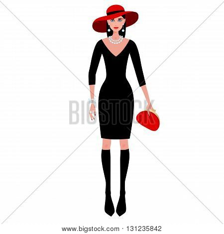 Сute fashionable girl on the evening of luxury glamor clothes. The stylish little black dress, hat, clutch bag, pearls. Vector illustration of people isolated on white background.
