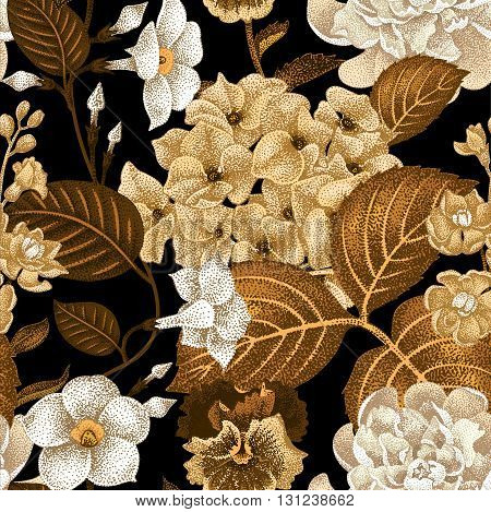 Garden hydrangea flowers violet bindweed gillyflower on a black background. Vector. Seamless floral pattern. Illustration - luxury packaging design template textile paper wallpaper.