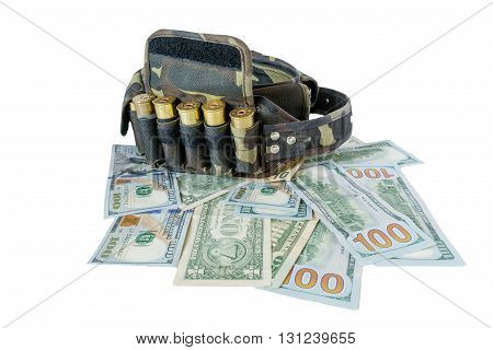 charged bandolier lies on the bank banknotes front view.