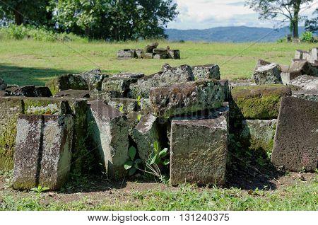stone blocks ruins in ratu boko temple complex