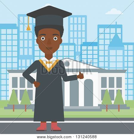 An african-american woman in cloak and hat showing thumb up sign on the background of educational building vector flat design illustration. Square layout.