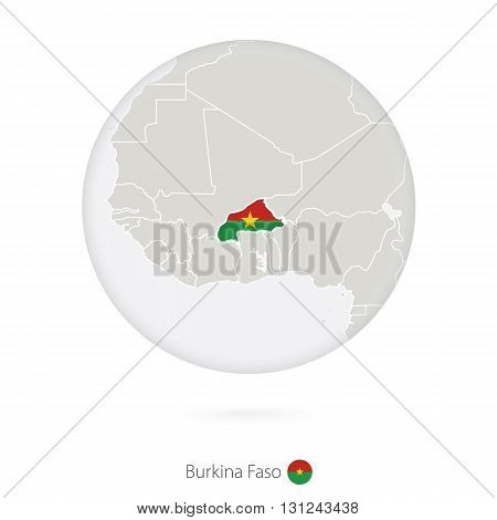 Map Of Burkina Faso And National Flag In A Circle.