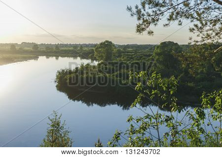 The Dnipro river flows at sunset reflects in the clouds. beautiful scenery, the view from the cliff