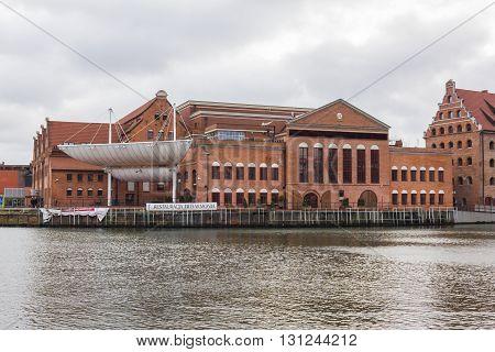 GDANSK, POLAND - DECEMBER 26: Polish Baltic Philharmonic Hall located on the island Olowianka on December 26, 2011 in Gdansk.