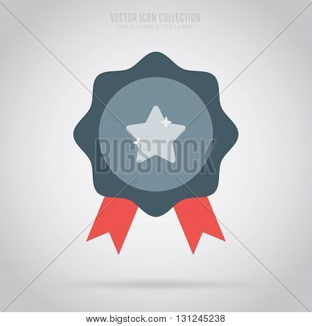 Medal icon. Medal flat modern style. Vector medal. Award medal. Isolated medal illustration. Winner symbol. Medal icon with ribbon. Winner icon. Medal with star shape. Victory sign. Champions medal icon. Medal badge. First place.