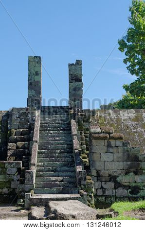 ruins of gate inside ratu boko palace complex