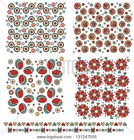 Colorful tiling textures and trims with flowers and hearts