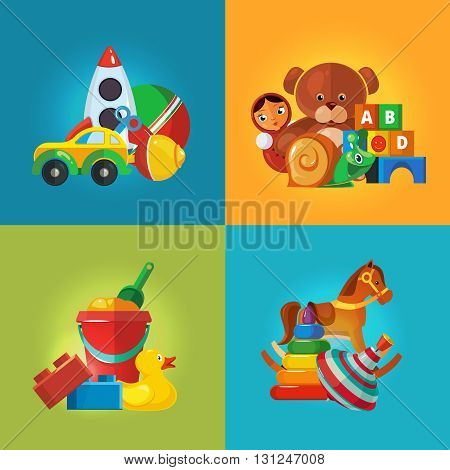 Toys icons for kids isolate on color background. Toys vector illustrations pack. Cartoon toys set