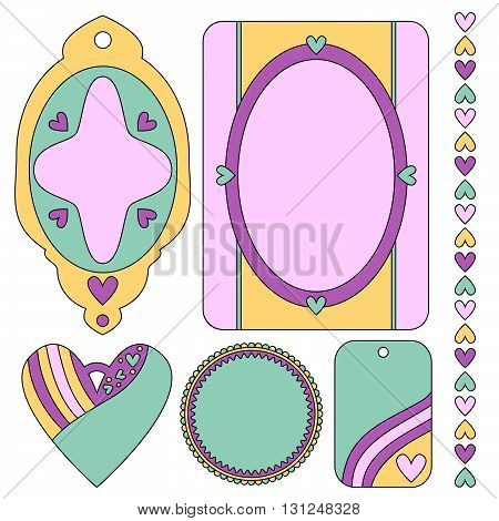 Romantic tags labels heart and trim collection isolated over white background