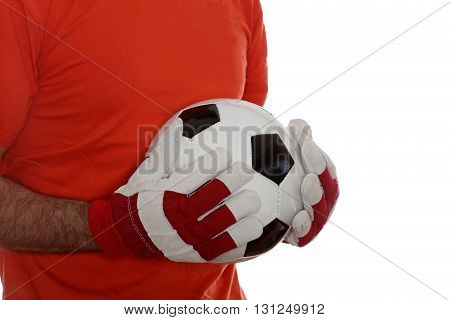 goal keeper with soccer ball in hands