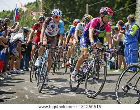 MONTEMAGGIORE Italy - may 20. 2016: Diego Ulissi- LAMPRE MERIDA and MONTAGUTI Matteo - AG2R La mondiale during Giro di Italia 2016 13st stage 170km