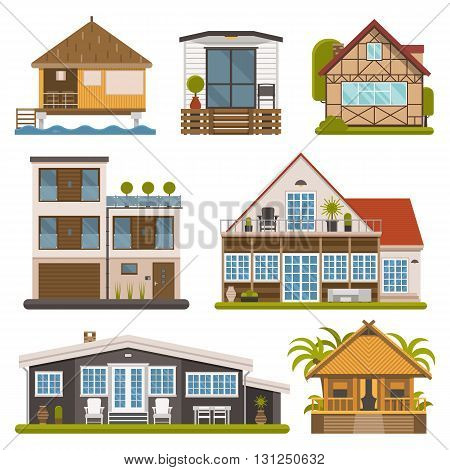 Rent house set. Modern apartments and suites private cabins wooden bungalows chalet and country houses collection for booking and living. Europe cottages and homes bundle.