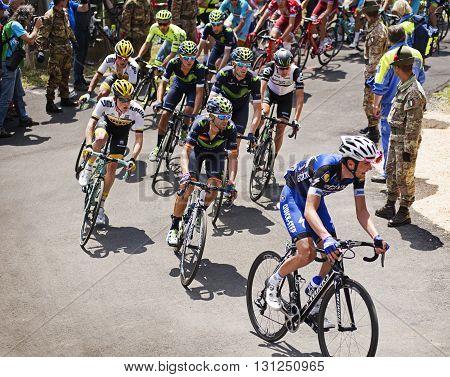 MONTEMAGGIORE Italy - may 20. 2016: Alejandro Valverde and Steven KRUIJSWIJK during Giro di Italia 2016 13st stage 170km