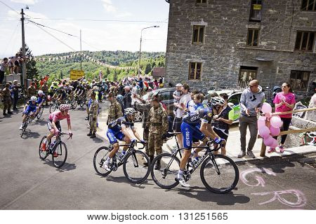 MONTEMAGGIORE Italy - may 20. 2016: Leader JUNGELS Bob in pink jersey - ETIXX - QUICK STEP during Giro di Italia 2016 13st stage 170km