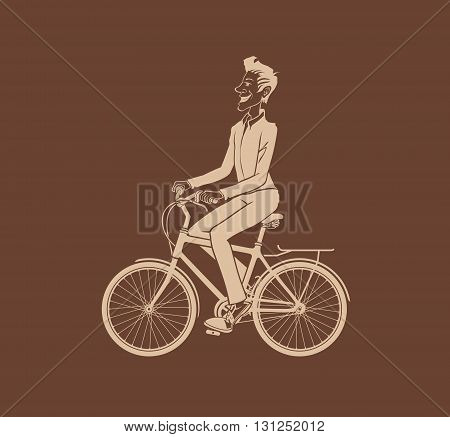 Man bicycling. The vector illustration of the Man bicycling. Cyclist Silhouette. Bicycle Rider. Bicyclist. Hipster Man with Bicycle. Graphic Design Element.