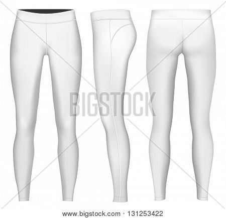 Women's full length compression tights.  Fully editable handmade mesh. Vector illustration.