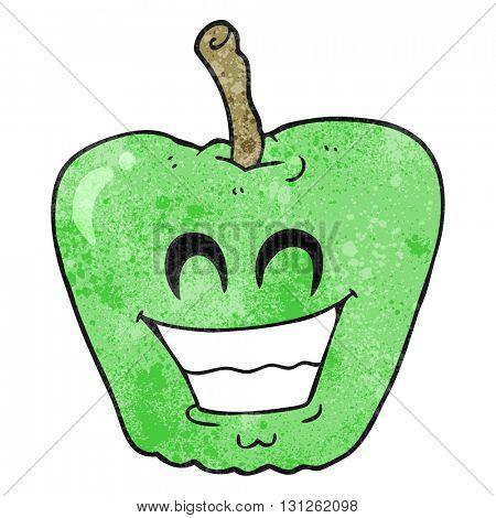 freehand textured cartoon grinning apple