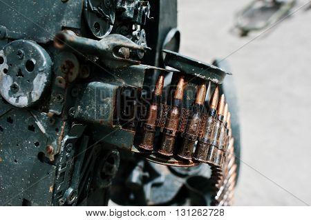 Cartridge Belt Of Ammo At Machine Gun.
