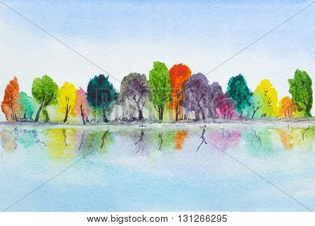 watercolor hand painted lake with autumn trees with reflection
