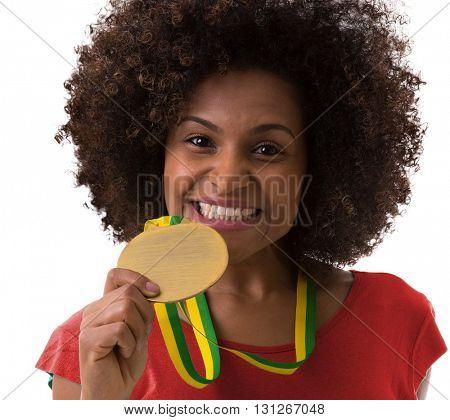 Afro woman fan on red uniform celebrating