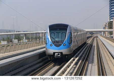 view on outdoor metro train in Dubai