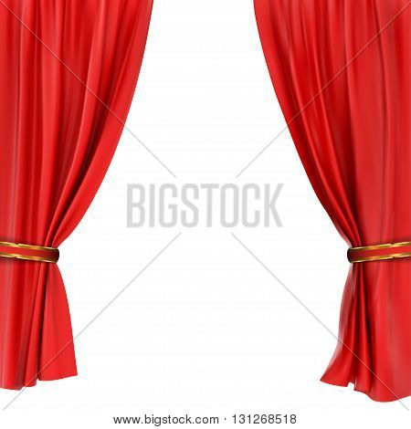 red curtain isolated on a white background.   vector illustration.