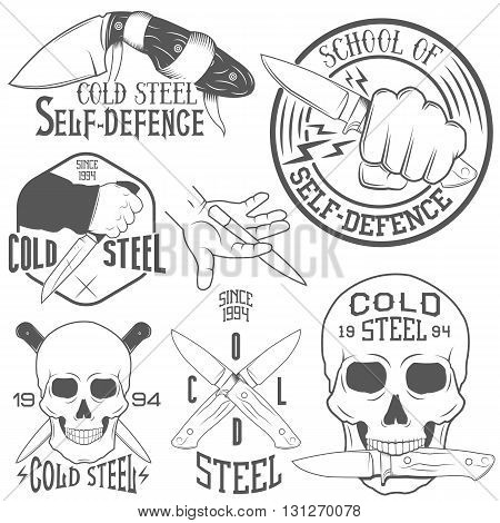 Vector set of emblems with human skull and knife. Illustration in vintage monochrome style. Icons, labels, badges, logo isolated on white background.