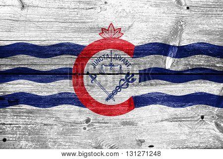 Flag Of Cincinnati, Ohio, Painted On Old Wood Plank Background