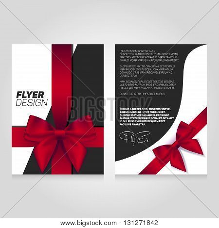 Brochure flier design template with gift ribbon. Vector poster illustration. Leaflet cover layout in A4 size.