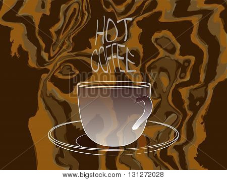 Coffee Cup With Hot Coffee Steam Words