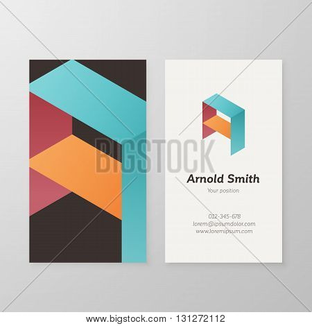 Business card isometric logo letter A vector template. Vector business card personal logo sign graphic design.