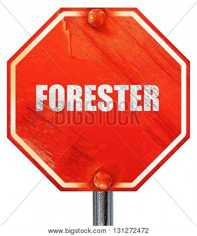 forester, 3D rendering, a red stop sign