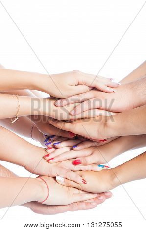 Bunch Of Hands On Top Of Eachother.