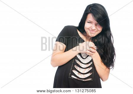 Sneaky and bully teen girl rubbing hands together isolated on white background poster