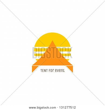 Event tent logo concept. Tent or awning with sunset behind for party event company.