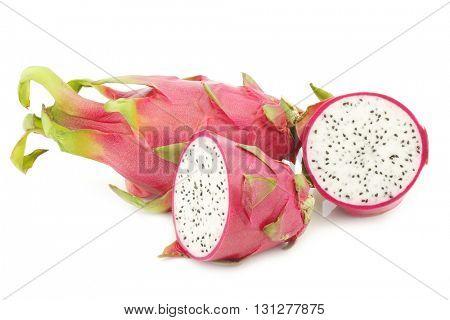 fresh pitaya fruit (Hylocereus undatus) on a white background