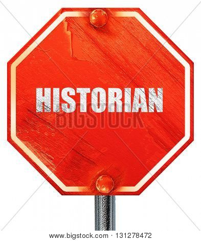 historian, 3D rendering, a red stop sign