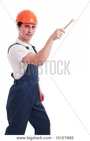 Muscular young man in a builder uniform with tools. poster