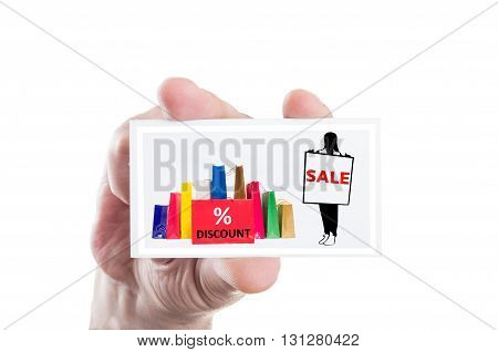 Hand Holding Sale And Discount Card