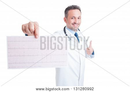 Encouraging Cardiologist Showing Healthy Ekg And Like Gesture