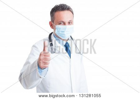 Encouraging Doctor Or Medic Showing Like Gesture