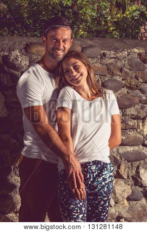 Lovers Man And Woman Smiling And Feeling Happy